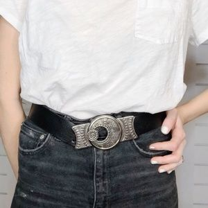 [Chico's] Leather Boho Silver Buckle Belt